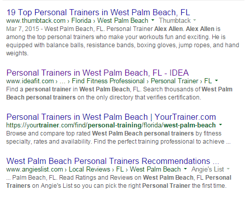 Organic results personal trainer WPB