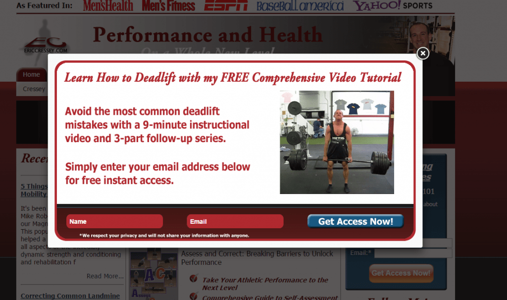 email popup lead capture for personal trainers