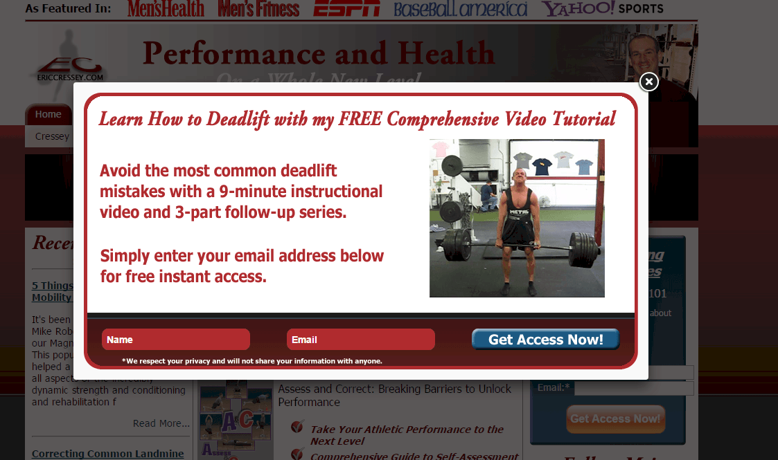 email popup lead capture for personal trainers fitness mentors, llc