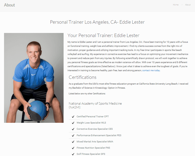 personal trainer about page example