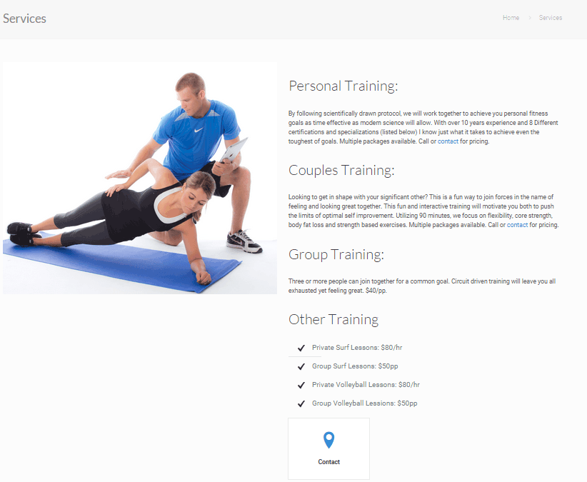 Personal Trainer Services Page Example Fitness Mentors Llc